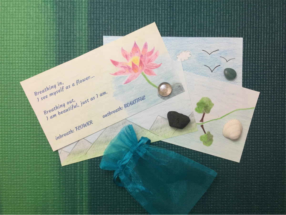 Pebble meditation cards and pebbles
